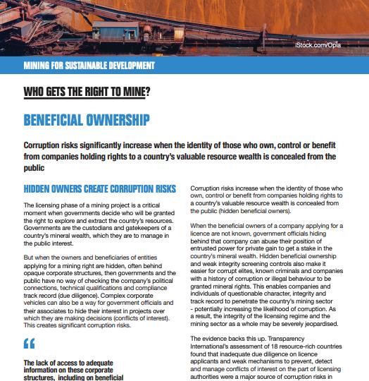 Beneficial ownership factsheet
