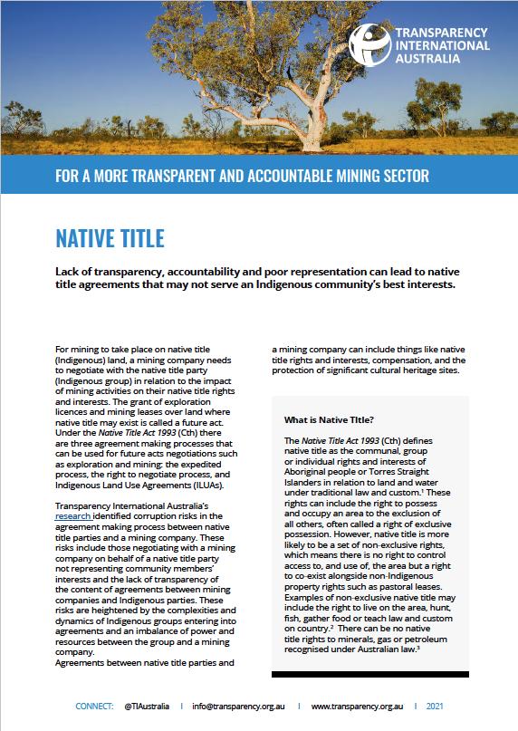 Native title australian mining