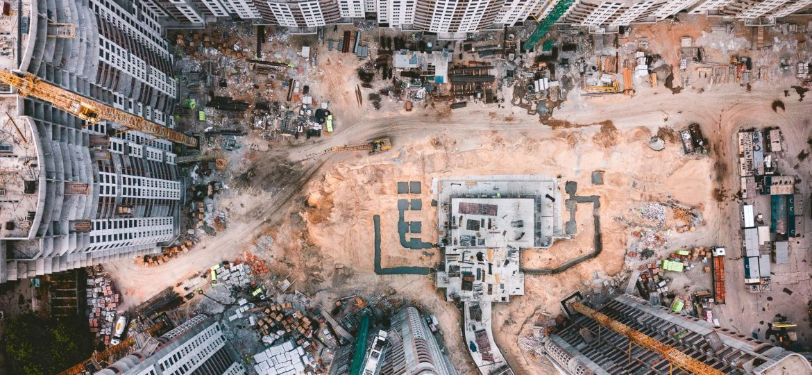 Aerial view of a construction site.